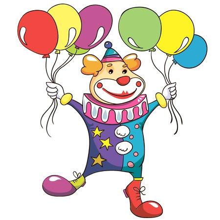 jest: Illustrazione - Clown su sfondo bianco Vettoriali