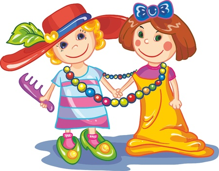 Illustration - Two little girls on white background Vector