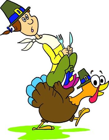 Illustration - Man and turkey on white background