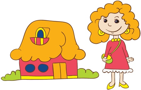 grass plot: Illustration - Cartoon redhead young woman in dress  and shoes with handbag standing near her house on white background
