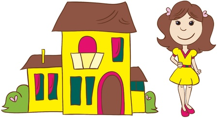 grass plot: Illustration - cartoon brown head  young woman in dress and shoes with bow standing near her house on white background