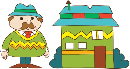 Illustration- cartoon  young man in  hat and stripy  sweater with moustache standing near his house on white background Illustration