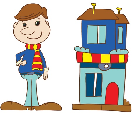 Illustration - Cartoon young man in stripy scarf and sweater standing near his house on white background