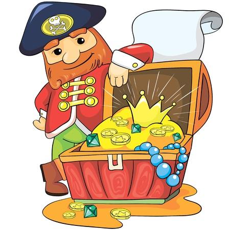 図 - 白い背景の上陽気な海賊