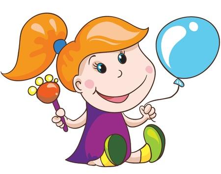 Illustration-  cartoon little girl on white background