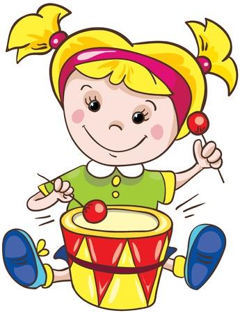 Illustration - Cartoon little girl on white background