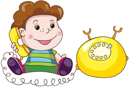 Illustration - Cartoon little boy with yellow telephone on white background Stock Vector - 18861778