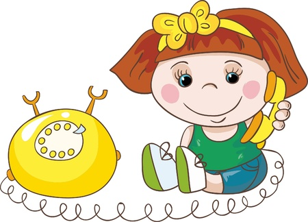 child of school age: Illustration - Cartoon little girl with yellow telephone on white background