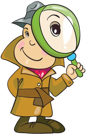 Illustration - Cartoon detective in hat and topcoat with magnifying glass on white background