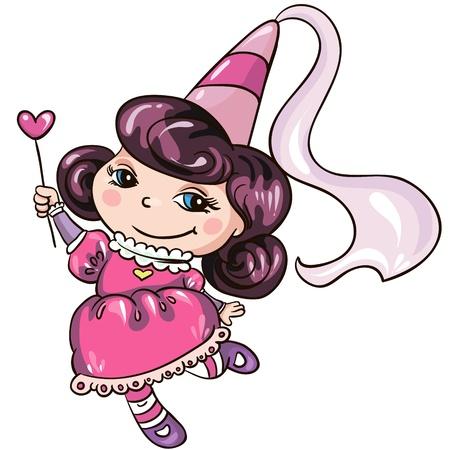 Illustration - Funny little cartoon princess on white background Illustration