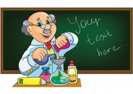 Illustration - Cartoon character scientist in laboratory near the blackboard Illustration