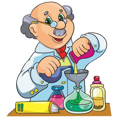uitvinder: Illustratie - Cartoon karakter wetenschapper in het laboratorium op een witte achtergrond