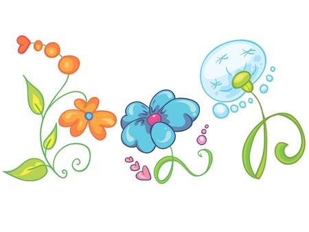 Illustration - Set of bright and colorful flowers icons on white background Illustration