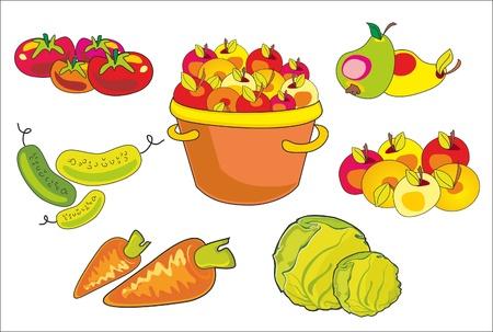 イラスト - 果物や野菜のセット  イラスト・ベクター素材