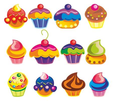 gateau: Illustrazione - set di muffin