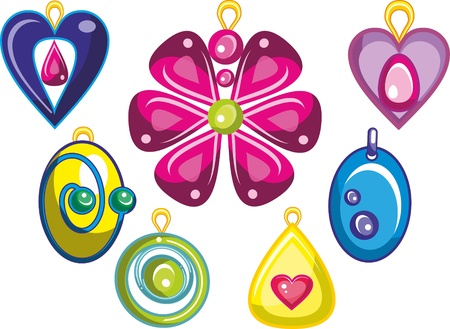 Illustration - set of isolated cartoon jewellery on white background