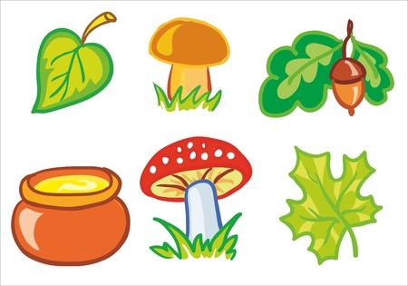イラスト - きのこや葉