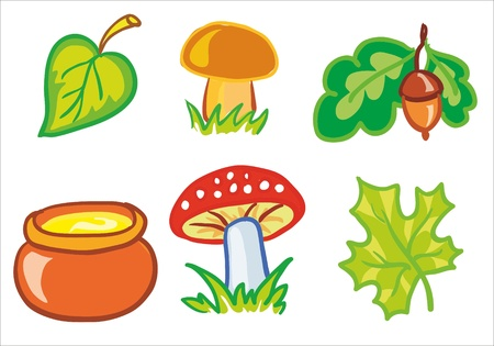 Illustration - mushrooms and leafs Vector
