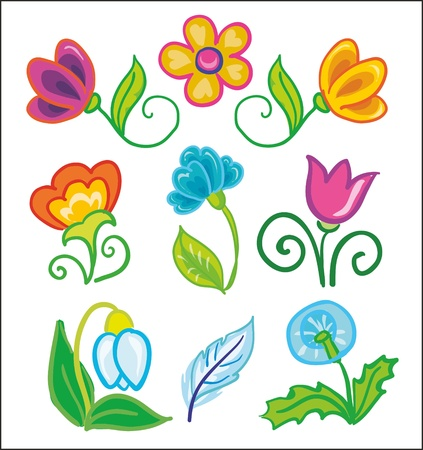Illustration - set of bright and colorful flowers icons