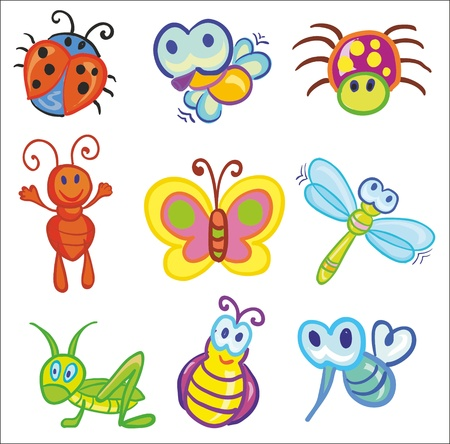 Illustration - set of funny little insects icons