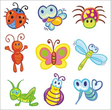 Ilustraci�n - conjunto de divertidos iconos peque�os insectos