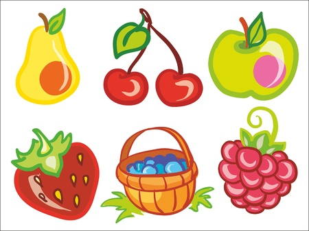 Illustration - set of fruits and berries icons Vector