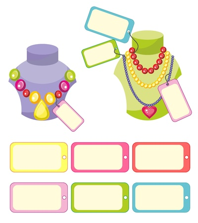 Illustration - set of isolated cartoon jewellery on white background Vector