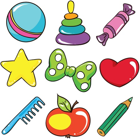 Illustration - Set of isolated cartoon children toys and accessories icons on white background Vector