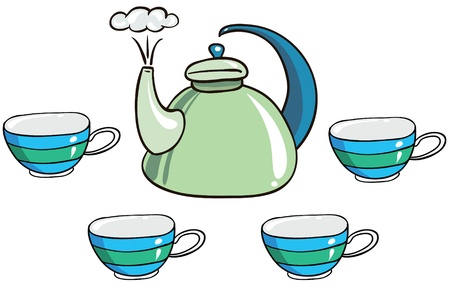 boiling water: Illustration - set of isolated cartoon tea-set on white background