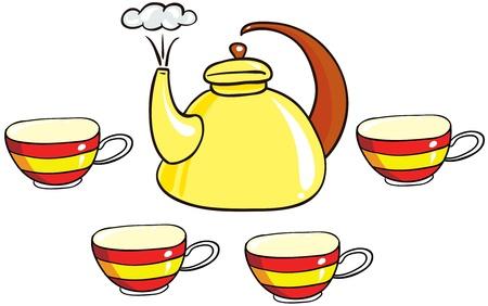 teaset: Illustration - set of isolated cartoon tea-set on white background