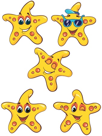 Illustration - set of cartoon sea-stars on white background