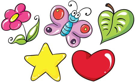 Illustration - set of isolated cartoon bright and colorful flowers icons on white background