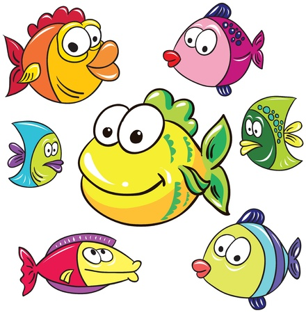 Illustration - set of isolated cartoon sea and ocean bed inhabitants on white background Vector