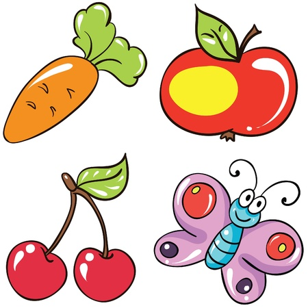 Illustration - set of isolated cartoon fruits and vegetables on white background