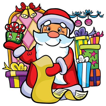 Illustration - Cartoon Santa Claus with gifts and wishlist on white background Vector