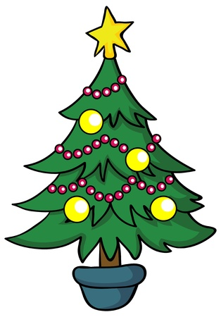 Illustration - Cartoon Christmas tree on white background Stock Vector - 18862220