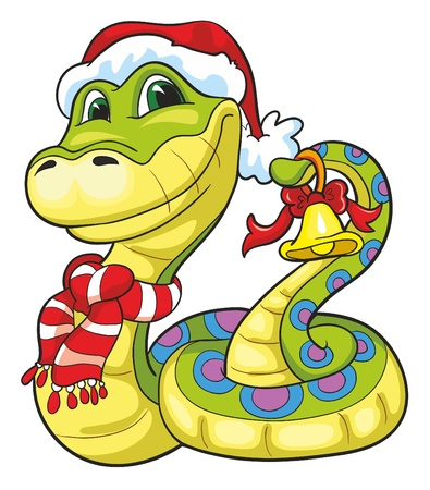 Illustration - cartoon snake with jingle bell in scar and Santa Claus hat on white background Vector