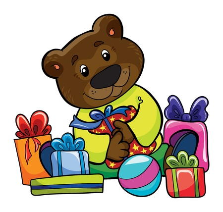 Illustration - little funny bear with presents on white background