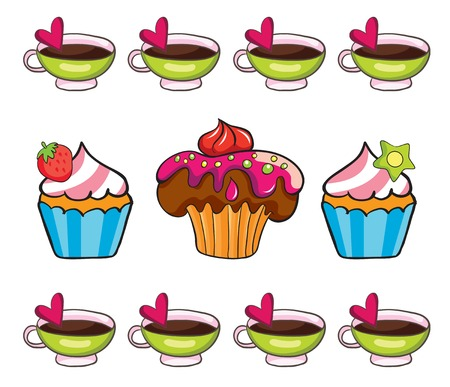 cupcake set, vector illustration on white background Vector
