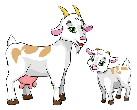 goat and kid, vector illustration on white background Ilustração