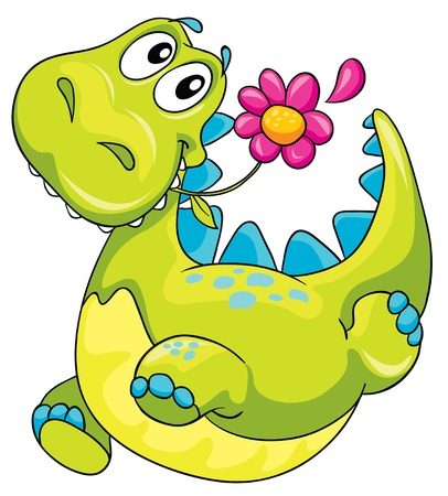 illustration of a dinosaur and flower Vector