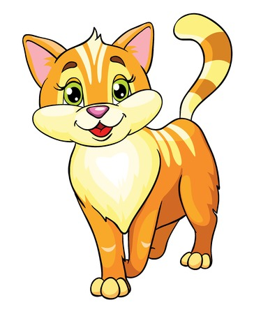 cute cartoons: cute cat, vector illustration on white background