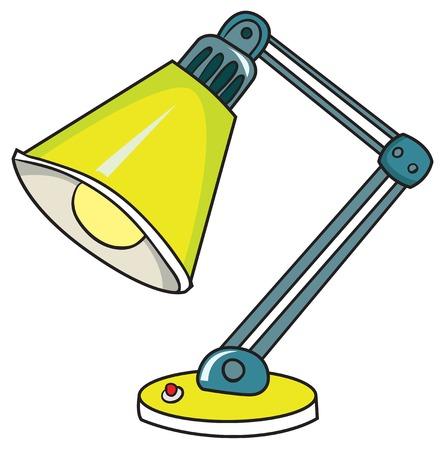 黄色のデスクランプ、白い背景の上のベクトル図