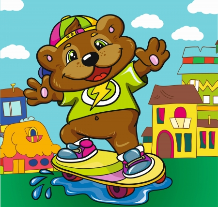 Bear skateboarder on a colored background, vector illustration Illustration