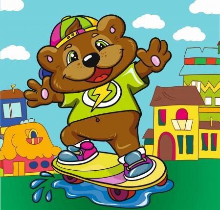 Bear skateboarder on a colored background, vector illustration Illustration
