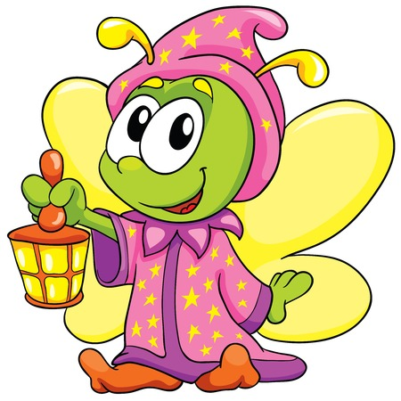 firefly in pajamas on white background