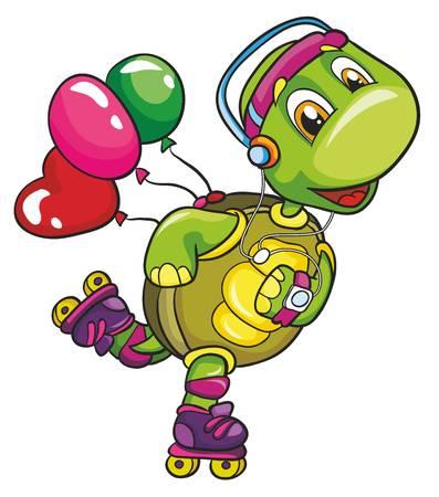 rollerblading: tortuga en patines sobre un fondo blanco, ilustración vectorial