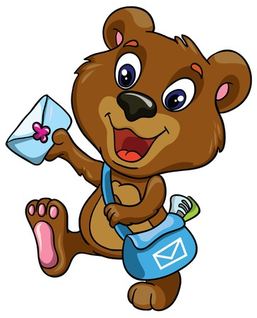 Bear postman on a white background, vector illustration