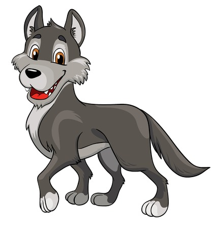 alaskan: cheerful wolf on a white background, vector illustration