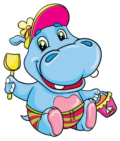 Hippo with a shovel and bucket, vector illustration Vector